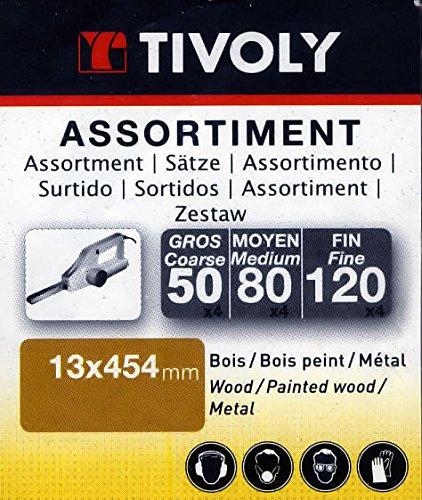 Lot de 24 bandes abrasives pour ponceuses /électriques 13 x 454 mm Decker Tivoly Compatible Black