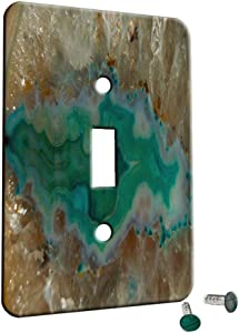 Agate Crystal Turquoise - Decor Switch Plate Cover Metal (1 Gang Switch)