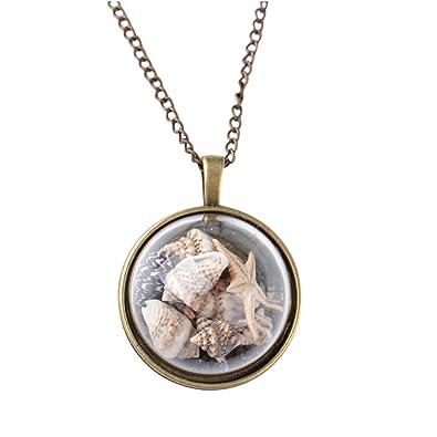 21884fcd45f Amazon.com  2018 NEW !!! Fashion Ocean Beach Glass Conch Necklace For Women  Gift Starfish Shells Pendant (Multicolor)  Jewelry