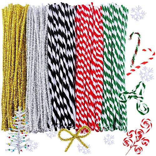 200 Pcs Christmas Striped Chenille Stem,Pipe Cleaners Tinsel Chenille Stems 6 mm X 12 Inch for Craft DIY Art Supplies Retro Christmas Candy Cane Crafting Projects