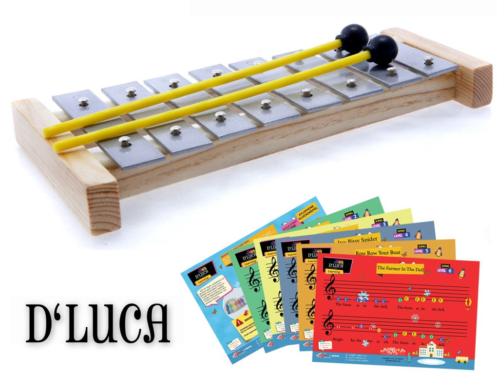 D'Luca 8 Notes Children Xylophone Glockenspiels with Music Cards Sky Blue Telemarketing Inc. TL8-3