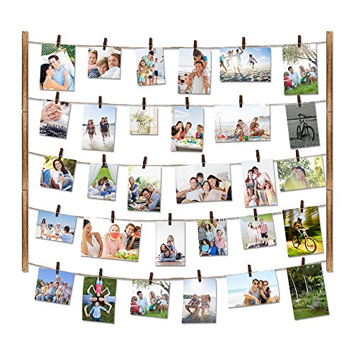 Love-KANKEI Wood Picture Photo Frame for Wall Decor 26×29 inch with 30 Clips and Ajustable Twines Collage Artworks Prints Multi Pictures Organizer and Hanging Display Frames Carbonized Black -