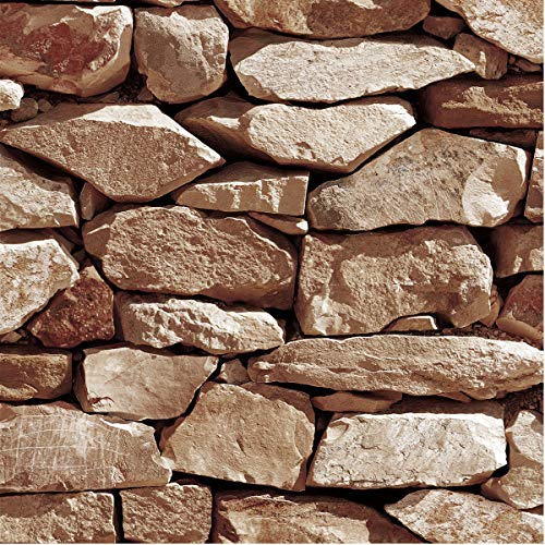 (Akea Stone Wallpaper 3D Fake Faux Rock Stone Pattern Wall Paper Roll for Home Kitchen Decor 20.8