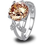 LingMei 12mm*12mm Round Cut Cz Created Champagne Stone Women's Ring US Size