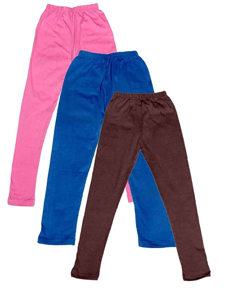 -Multiple Colors-15-16 Years Pack of 3 Indistar Big Girls Cotton Full Ankle Length Solid Leggings