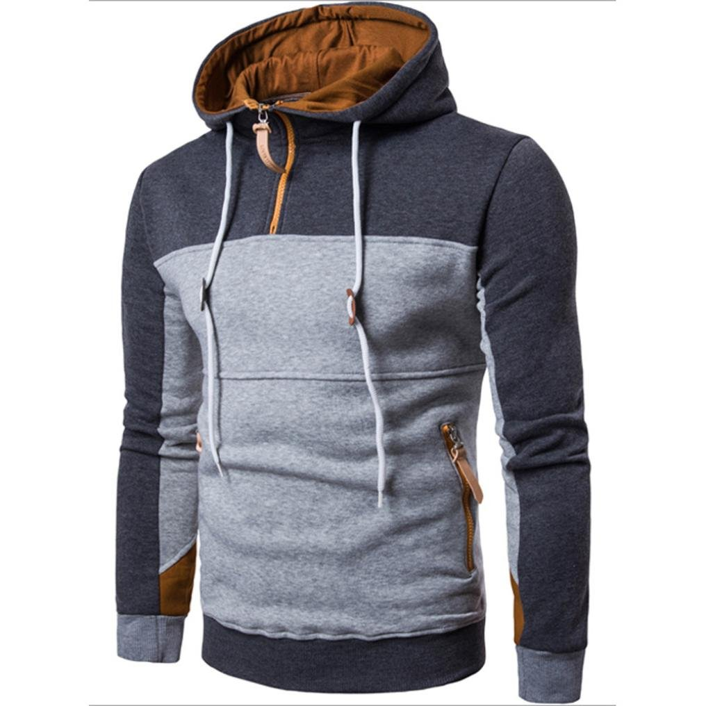 Clearance ! Andsome Hoodies Sweatershirts for Men Fashion Patchwork Pullover Coat Sweater Outwear Jacket (Deep Gray, L)