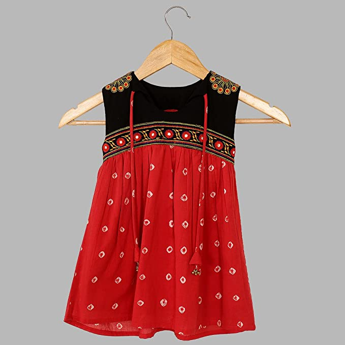 daec6d06a Kids Fashion For Girls Bandhani Embroided Dress 100% Cotton
