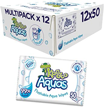 Kandoo Aquas Flushable Aqua Toallitas, Pack de 12: Amazon.es: Salud y cuidado personal