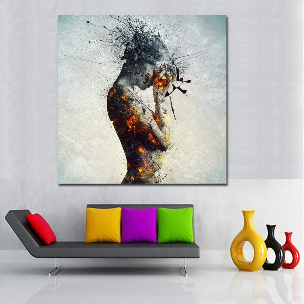 ea182403b99 Faicai Art Nude Women Canvas Painting with Burning Charcoal Body Pop Art for  Living Room Wall Decor Posters and Prints Picture Banksy Graffiti Abstract  Wall ...