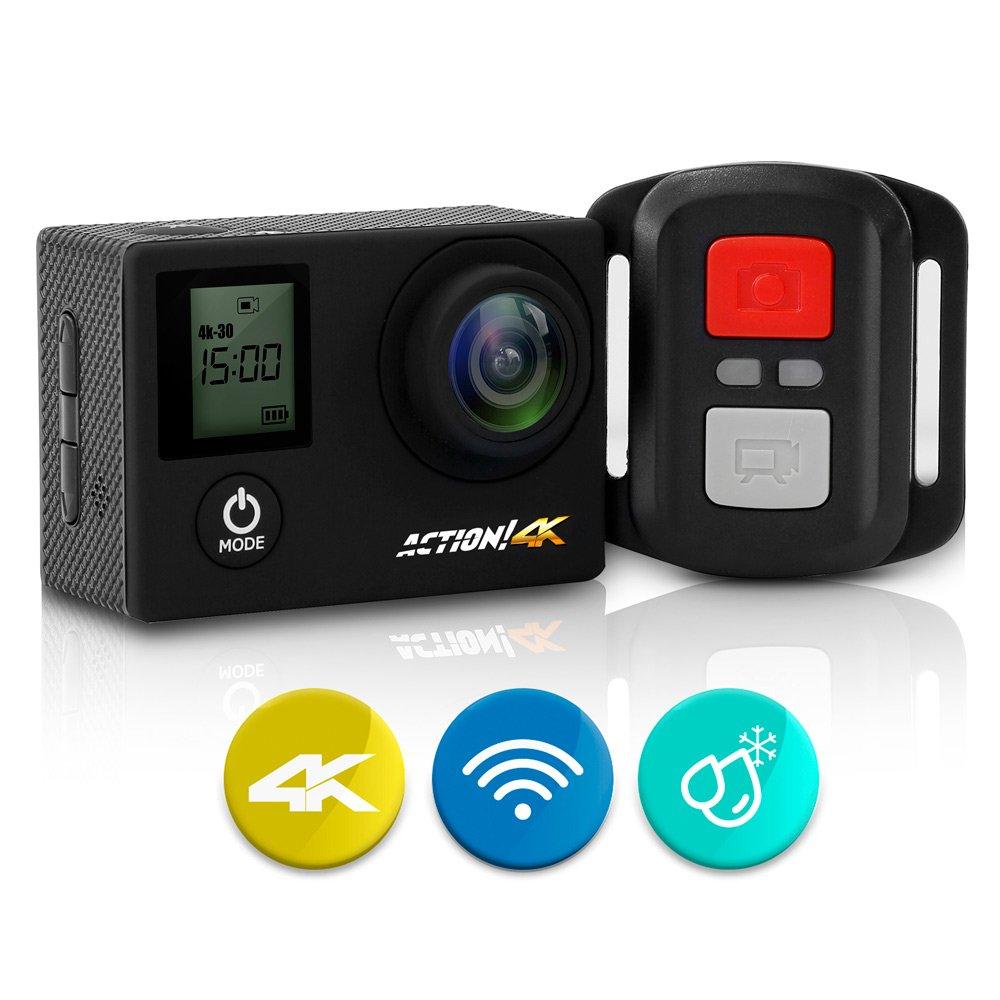 SereneLife 4K Ultra HD WiFi Pro Sport Action Camera - 1080p UHD Sports Mini Digital Video Camcorder Kit w/ 2'' Monitor Screen - Waterproof Case, Strap, Helmet Mount Accessories Included - SL4KDSBK