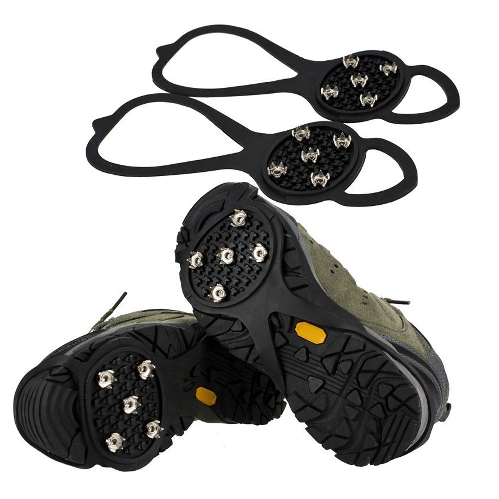 Ezyoutdoor Crampons Shoes Ice Snow Cleats Footwear Non-Slip for Walking Bad Weather Snow Rain Anti-Slip 250x95x3mm random color by ezyoutdoor