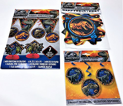 BashBox Jurassic World Fallen Kingdom Birthday Party Supplies Decor Pack Including 7 Piece Room Decorating Kit, Hanging Swirl Decorations and Jointed (Fallen Party Pack)