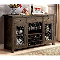 Furniture of America CM3465SV Paulina Rustic Walnut Server Dining Room Buffet