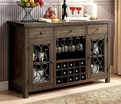 Furniture of America CM3465SV Paulina Rustic Walnut Server Dining Room Buffet (Server Buffet Walnut)