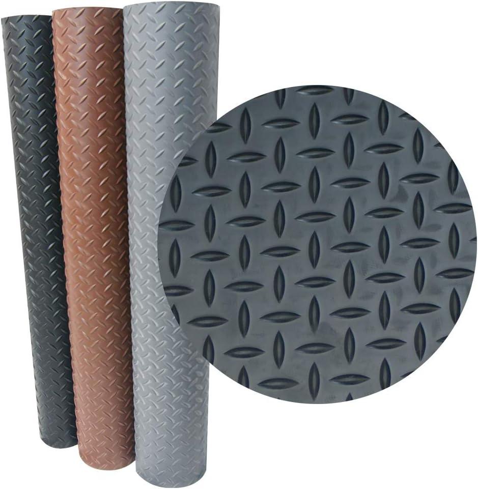 "Goodyear Diamond-Plate Rubber Flooring - 3.5mm x 36"" x 4ft - Black"