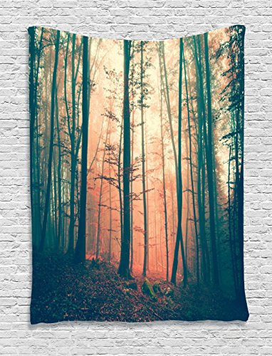 - Ambesonne Mystic Tapestry, Pale and Vintage Color in Mysterious Autumn Forest Woodland Nature Picture, Wall Hanging for Bedroom Living Room Dorm Decor, 40