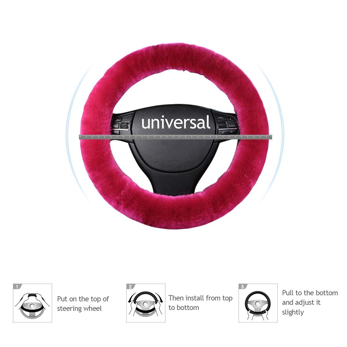 Rosa Fluorescente Ergocar Lana Pura Funda para Volante de Coche Suave Universal Antideslizante Invierno C/álido Protector del Volante del Coche