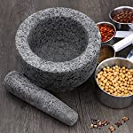 """Anzone Mortar and Pestle, Unpolished Granite,Spice Crusher ,5.9 Inch 9 Our finely designed solid set is made of genuine natural granite. Dimensions: 5.9 """" Diameter x 3.9"""" tall bowl,5.9"""" Pestle Length. The molcajete is used for effectively grinding, crushing, mixing, mashing herbs, spices, nuts, ginger, garlic and other assorted things to very fine powder or paste. Its heavy weight easily perform grinding. You can control the degree of crushing with ease.."""