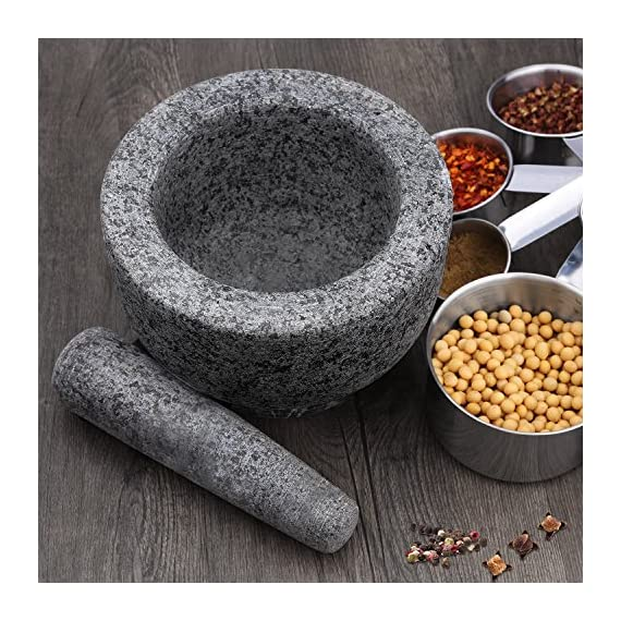 """Anzone Mortar and Pestle, Unpolished Granite,Spice Crusher ,5.9 Inch 2 Our finely designed solid set is made of genuine natural granite. Dimensions: 5.9 """" Diameter x 3.9"""" tall bowl,5.9"""" Pestle Length. The molcajete is used for effectively grinding, crushing, mixing, mashing herbs, spices, nuts, ginger, garlic and other assorted things to very fine powder or paste. Its heavy weight easily perform grinding. You can control the degree of crushing with ease.."""