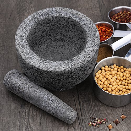 Anzone Polished Solid Granite Mortar and Pestle-5.9Inch Diameter,Grey