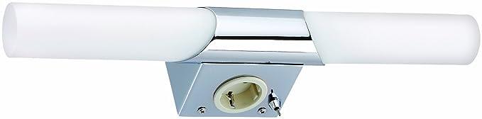 Briloner Leuchten Badleuchte Spiegelleuchte Badlampe 2 X E14 40w Inkl Steckdose Inkl Kippschalter Chrom 2192 028