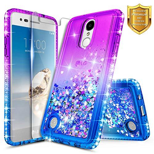 LG K20 Plus Case, LG K20 V/Harmony / K10 2017 / Grace LTE w/[Tempered Glass Screen Protector], NageBee Glitter Liquid Quicksand Waterfall Flowing Sparkle Bling Diamond Girls Cute Case -Purple/Blue