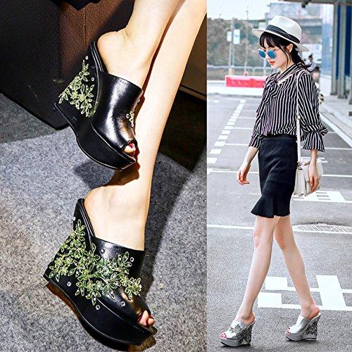Da 12cm Bocche con di Black alti Sandali Donna Scarpe Alla AJUNR impermeabile i e scarpe pesce tacchi Moda pendenza Yx5q78wS