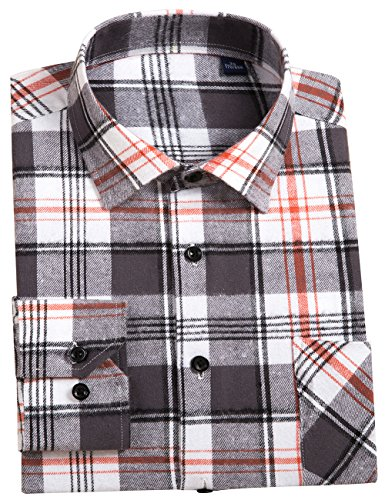 DOKKIA Men's Dress Slim Fit Buffalo Plaid Checkered Long Sleeve Flannel Shirts (Grey White, - Heavyweight Shirt Flannel