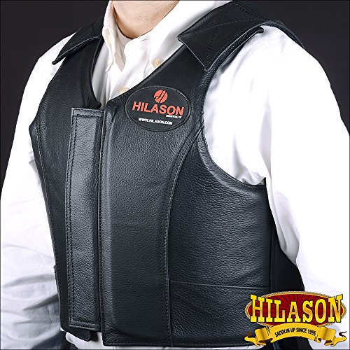 HILASON LEATHER BAREBACK PRO RODEO BULL RIDING PROTECTIVE VEST BLACK by HILASON