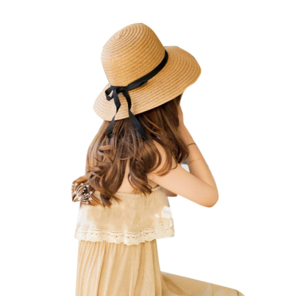 Amazon.com   Wenyujh Women Cute Beach Panama Round Brim Sun Hats Bowknot  Straw Hat Sun Hat Beach Cap   Sports   Outdoors eec18e8890f0