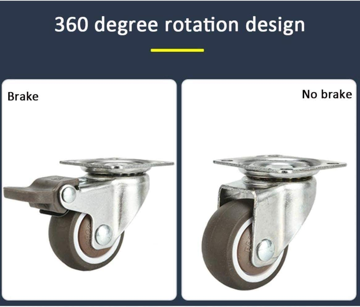 Set Of 4,4 No Brake,2in(50mm) Office Chair Caster Wheels FANYF /Φ1 // 1.5 // 2in Swivel Castor Trolley//Coffee Table Replacement Casters Furniture Rubber Caster Wheel With Brake
