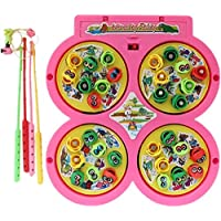 Blossom Fish Catching Game with 4 Pools,32 Small Multicolored Fishes,4 Magnetic Fishing Rods(Battery Operated) (2-4 Players Game)