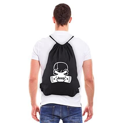 c14eb2da0e Army Force Gear Deadly Skull and Pistons Jeep Eco-Friendly Cotton Draw  String Bag Black