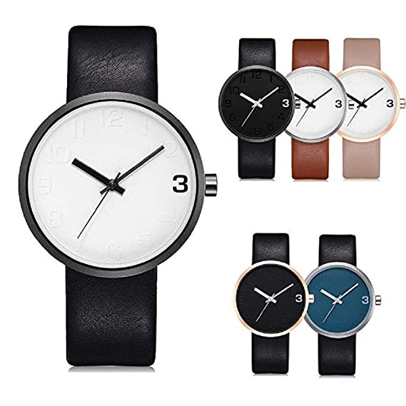 Amazon.com: Windoson Mens Wrist Watch Big Face Simple Style Leather Analog Quartz Business Watches (C): Electronics