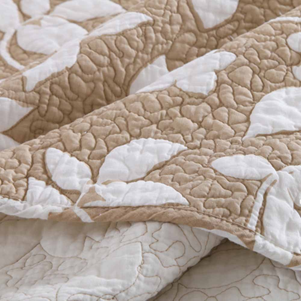 MicBridal 100% Cotton Reversible Coverlet Set Floral Printed Quilt Sets 3 Pieces Bedspread with Shams (Queen, Coffee) by MicBridal (Image #5)