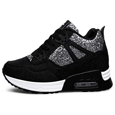 a553c2412b8e Amazon.com  Sunly Women s Platform Sneakers Wedges High Top Lace Up ...