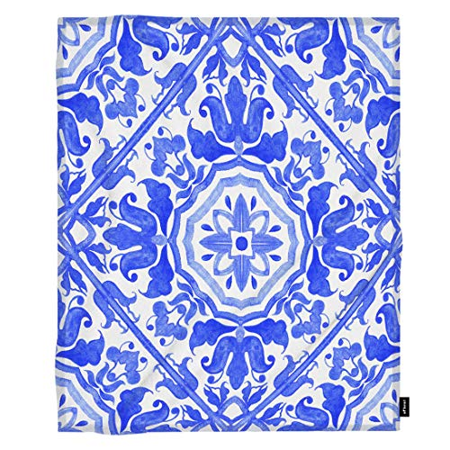 - oFloral Geometric Throw Blanket Portuguese Azulejo Tiles Blue Flowers Delft Majolica Decorative Soft Warm Cozy Blankets for Baby Toddler Dog Cat Home Decor for Bed Chain Sofa Couch 30x40 Inch