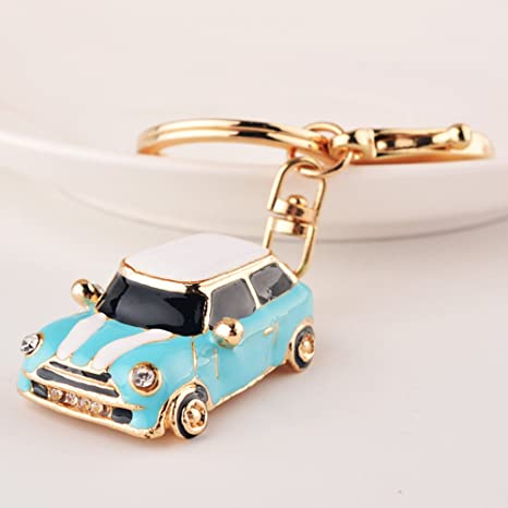 Cartoon Car Rhinestone Automotive Key Chains Tassels keychain Or Women Bag Ornaments Pendant A birthday present Gift (Light Blue)