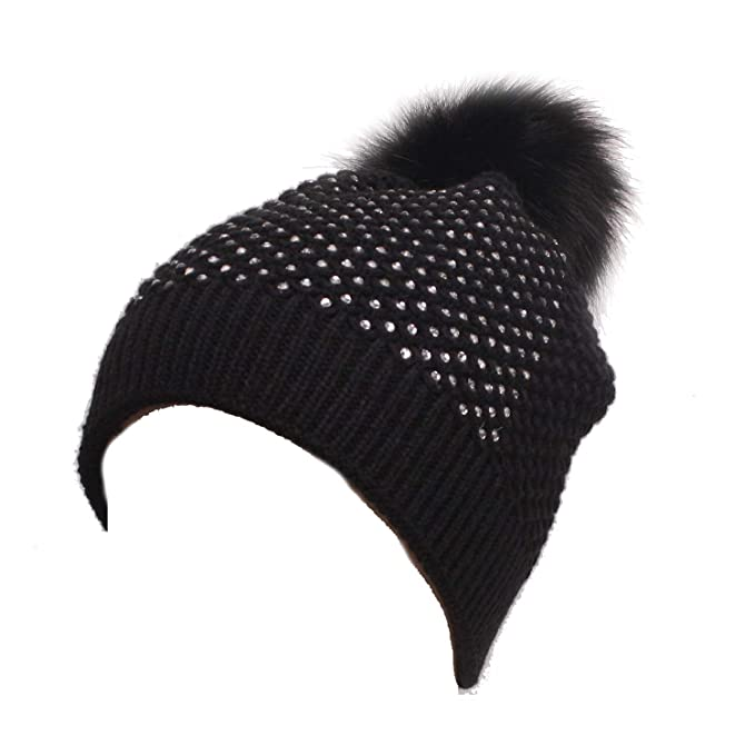 24d2e110682881 Snuggly Knit Winter Beanie with Pom Pom Embellished with Clear Rhinestones  in Black