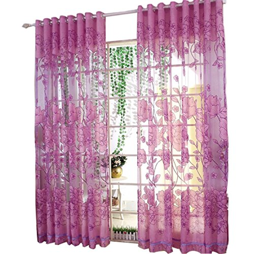 Freedi Willow Voile Tulle Room Floral Print Panel Sheer Drapes Curtain Valances Scarf