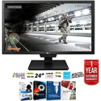 LG 24GM79G-B 24 Widescreen LED Gaming Monitor 1920x1080 144Hz Refresh Rate + Elite Suite 17 Standard Software Bundle (Corel WordPerfect, Winzip, PDF Fusion,X9) + 1 Year Extended Warranty