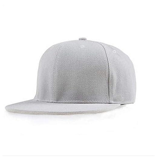 d3cdfb0d Amazon.com: Fashion Unisex Plain Solid Color Caps Snapback Flat Hats Hip-Hop  Bboy Baseball Cap, Adjustable Size Light Gray: Clothing