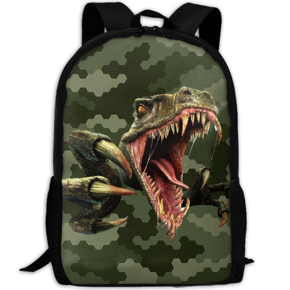 恐竜 怖い ラプター ユニーク アウトドア ショルダーバッグ ファブリック バックパック 多目的 デイパック 大人用   B078R826LM