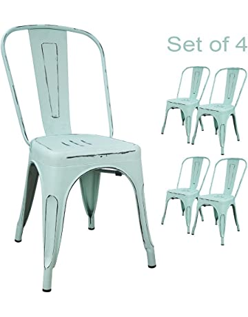78cb5e8acfa Devoko Metal Indoor-Outdoor Chairs Distressed Style Kitchen Dining Chair  Stackable Side Chairs with Back