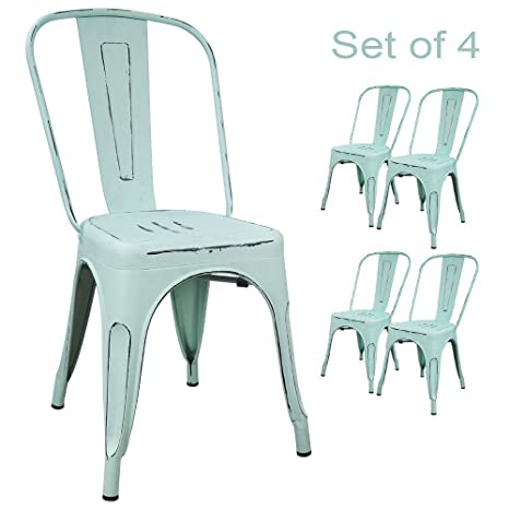 Magnificent Devoko Metal Indoor Outdoor Chairs Distressed Style Kitchen Dining Chair Stackable Side Chairs With Back Set Of 4 Dream Blue Home Interior And Landscaping Eliaenasavecom