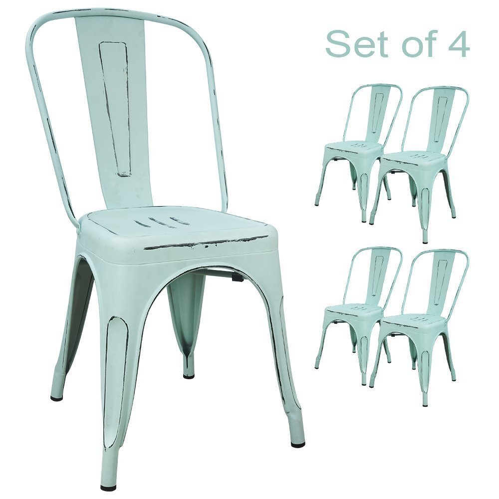 Devoko Metal Indoor-Outdoor Chairs Distressed Style Kitchen Dining Chair Stackable Side Chairs with Back Set of 4 (Dream Blue) by Devoko