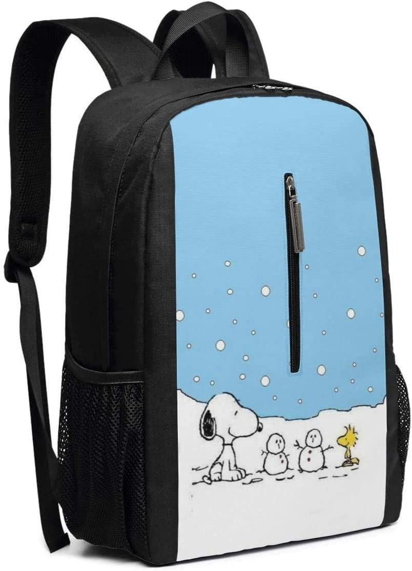 Backpack 17 Inch Snoopy with Snowman Large Laptop Bag Travel Hiking Daypack for Men Women School Work
