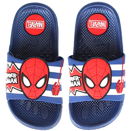 55d238c91 Galleon - Joah Store Boys Spider-Man Face And Spider Slide Sandals Red Blue  White Stripes Anti-Skid Shoes (9.5 M US Toddler