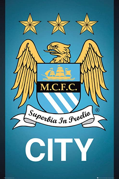 18-Inches by 24-Inches Huawuque Manchester City Football Club Poster Standard Size Football Club Posters Wall Poster Print