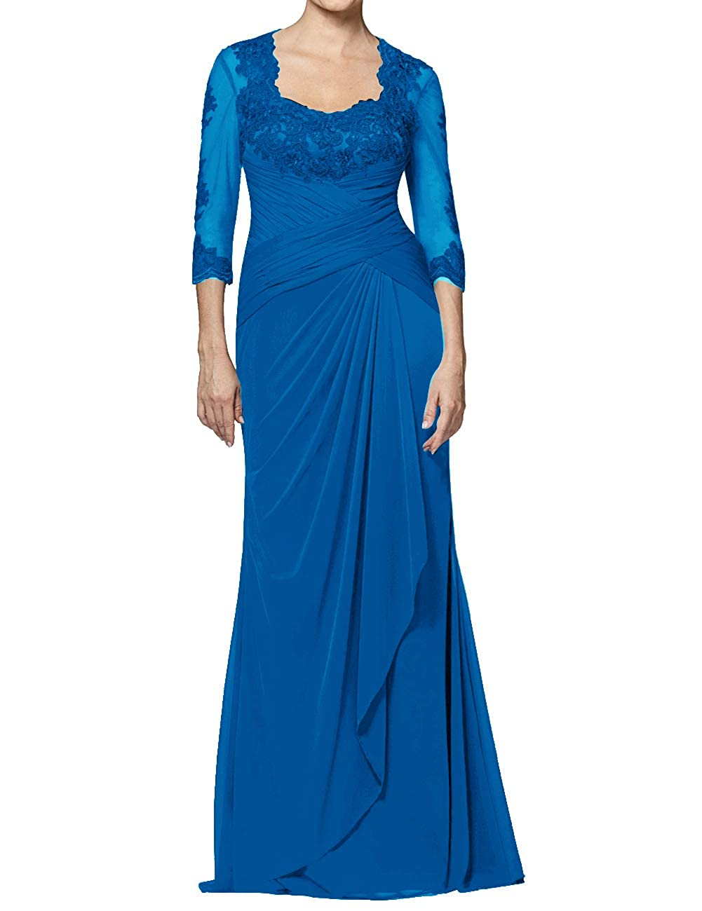 bluee Mother of The Bride Dresses Long Appliques Evening Party Prom Gown for Women